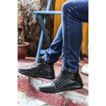 Genuine Leather Black Men Boots 2085771