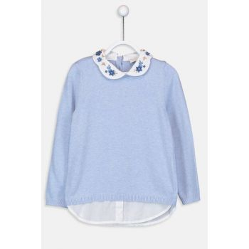 Girl's Blue Melange Sweater 9W1867Z4