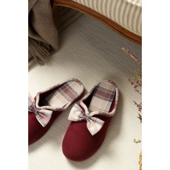 Marie Women's Bow Slipper - Burgundy 1KTERL0326-8682116106559