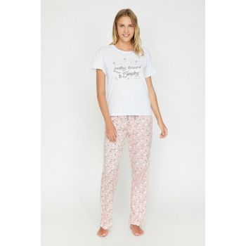 Women's Pink Printed Pajamas Set 0KLK79167MK