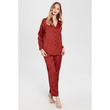 Women's Matte Red Pajama Set 9WG313Z8