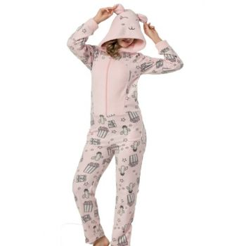 Women's Dust Pink Patterned Fleece Plush Jumpsuit Pajama Set 14778955
