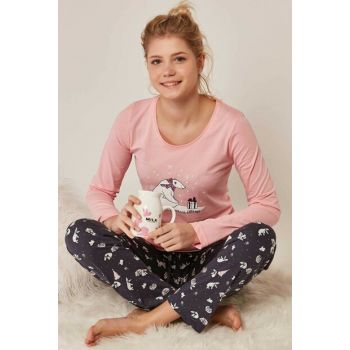 Women's Pink Long Sleeve Pajama Set 802201 Y19W137-8022014007