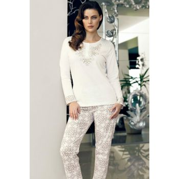 Women's Beige Long Sleeve Pajama Set MBP24116-1 TMBP24116