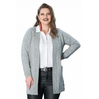 Women's Gray Pocket Sweater Cardigan T13354