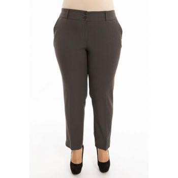 Women's Gray Hem Slit Pants PT2135-1