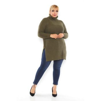 Women's Khaki Slit Detail Acrylic Turtleneck Sweater Sweater T111898