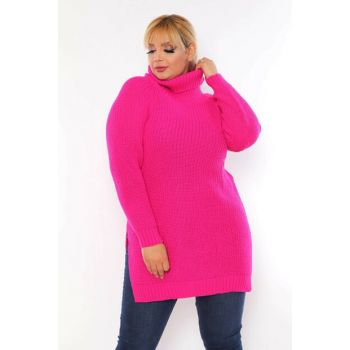 Women's Pink Slit Detail Acrylic Turtleneck Sweater Sweater T111897