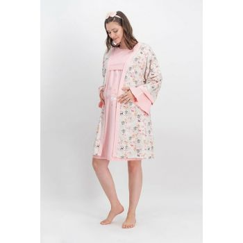 Hello Baby Pearl Pink Women's Lohusa Nightgown, Dressing Gown 2-Piece Set AR-571-S