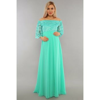 Low Shoulder Lace Maternity Dress Mint Green ML010500X