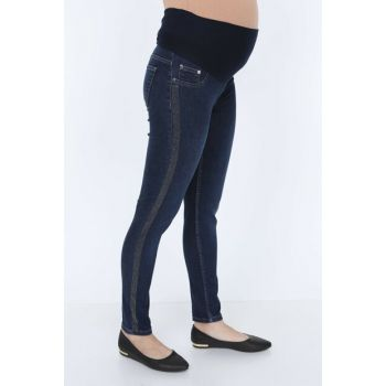 See & Sides Stone Detailed Maternity Kim.lacivert Jeans 3572
