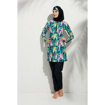 Women's Patterned Long Sleeve Patterned Zip Hijab Swimsuit 191908