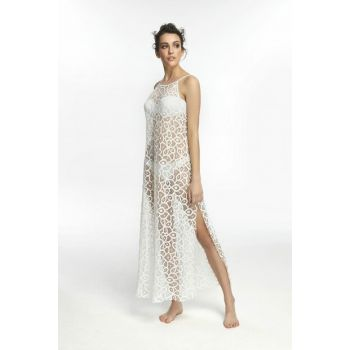 Women's Ecru Lace Dress with Ruched Detail