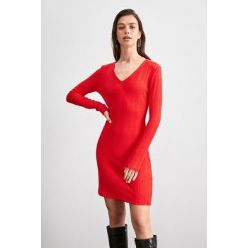 Red Fitted Knitted Dress TWOAW20EL1551