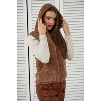 Women's Coffee Zippered Hooded Vest A1401