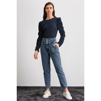 Blue Front Button Super High Waist Mom Jeans TWOAW20JE0337