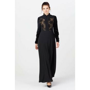 Women's Black Front Lace Combined Dress 1623861-205