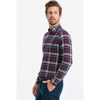 Men's Burgundy Plaid Shirt 8W7996Z8
