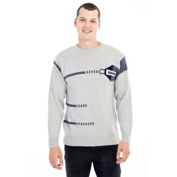Crew Neck Pattern Sweater 79560