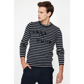 Men's Navy Blue Striped Sweater 9KAM91300LT