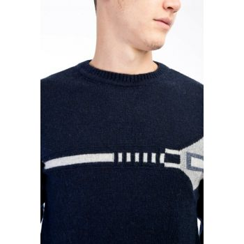 Crew Neck Pattern Sweater 79700
