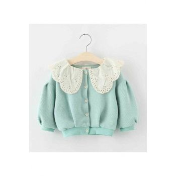 Blue Girl Kid Lace Collar Cardigan Emmy Blue LITTLET422