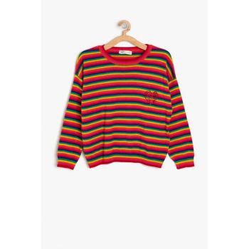 Red Girl Striped Sweater 9KKG97114HT