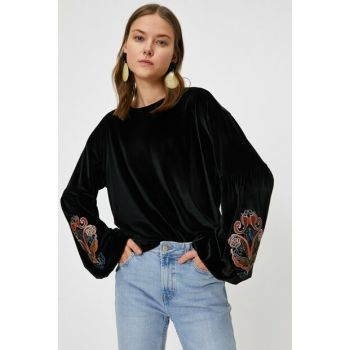 Women's Black Embroidered T-Shirt 0KAK13726EK