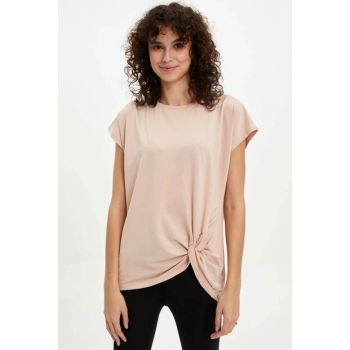 Women's Beige Pleated Regular Fit T-Shirt M0687AZ.19AU.BG55