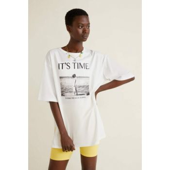 Women's White Printed Cotton T-Shirt 53001154