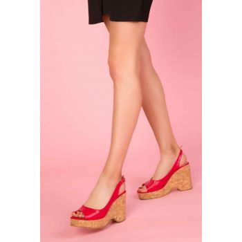 Red Women's Wedge Heel Shoes 13233