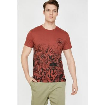 Men's Red Bicycle Collar Short Sleeve Written Printed T-Shirt 9YAM11454DK