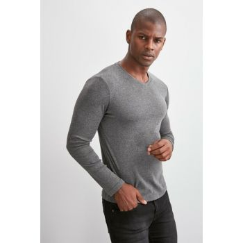 Anthracite Men V Neck Ribana Fabric Basic Long Sleeve T-Shirt TMNAW20TS0247