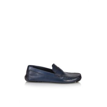 Genuine Leather Navy Blue Men Loafer 02AYH105830A680