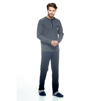 Men's Navy Blue Pajamas Suit-10037