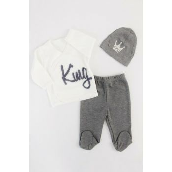 Gray King Baby Boy 3 Pieces Hospital Outlet AF9014