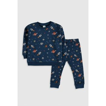 Baby Boy Navy Blue Printed LSJ Suit 9WT662Z1