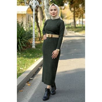 Half Fishtail Knitwear Dress - Khaki 2031 04719KBELB01005