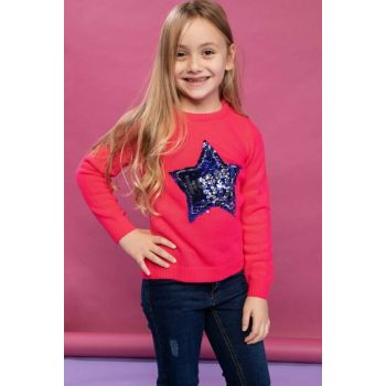 Pink Teenage Girl Star Printed Knitwear Sweater J0645A6.18WN.PN347
