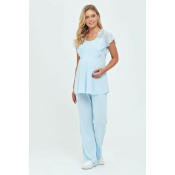 Woman Blue Pregnant Polivis. Lohusa Short Sleeve Pajama Set B0219Y0060