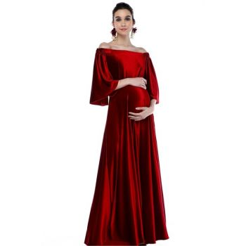 Low Shoulder Velvet Maternity Dress Red ML010900X