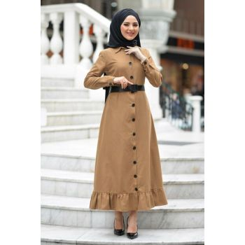 Women's Camel Waist Belt Dress TSD1145