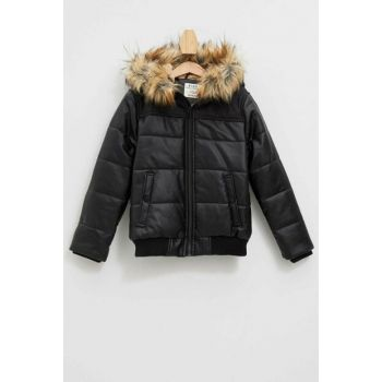 Artificial Fur Detail Hooded Inflatable Coat K8511A6.19WN.BK21