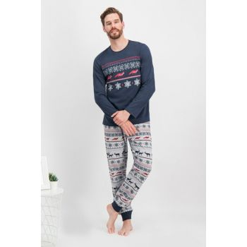 Chronic Dreamer Navy Blue Deer Pajamas Set 100% Cotton New Year Special AR-260-S