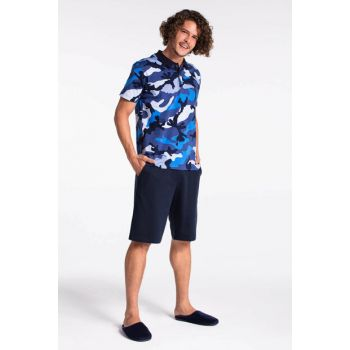 Men's Navy Blue Single Jersey Camouflage Polo Collar 2 Rope. Shorts Pajamas Set E0218Y0028