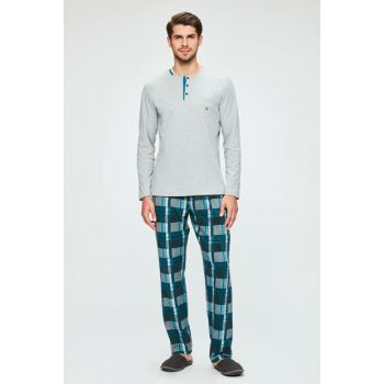 Men's Gray Pajamas Set with Long Sleeve E0218K0041