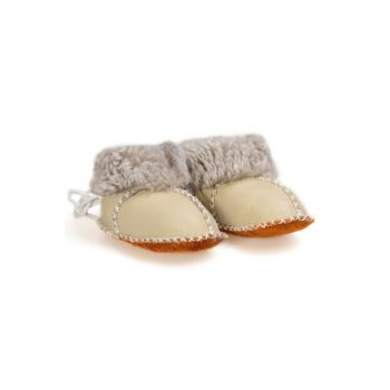 Light Green Genuine Fur Lace-Up Baby Shoes 141105