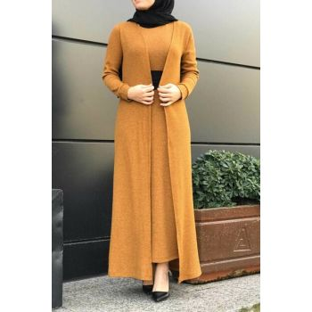 Women Mustard Hijab Double Set 6066-024