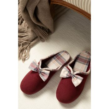 Marie Women's Bow Slipper - Burgundy 1KTERL0326-8682116106573