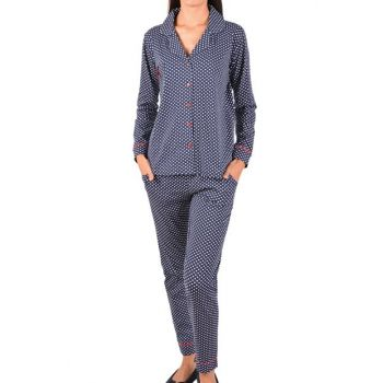 Women's Navy Blue Long Sleeve Buttoned Pockets Cotton Pajama Set 96283